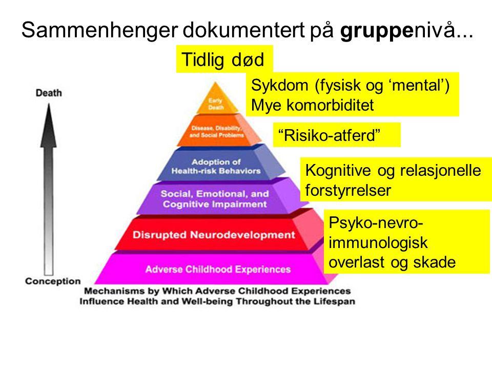 """Sammenhenger dokumentert på gruppenivå... """"Risiko-atferd"""" Psyko-nevro- immunologisk overlast og skade Kognitive og relasjonelle forstyrrelser Sykdom ("""