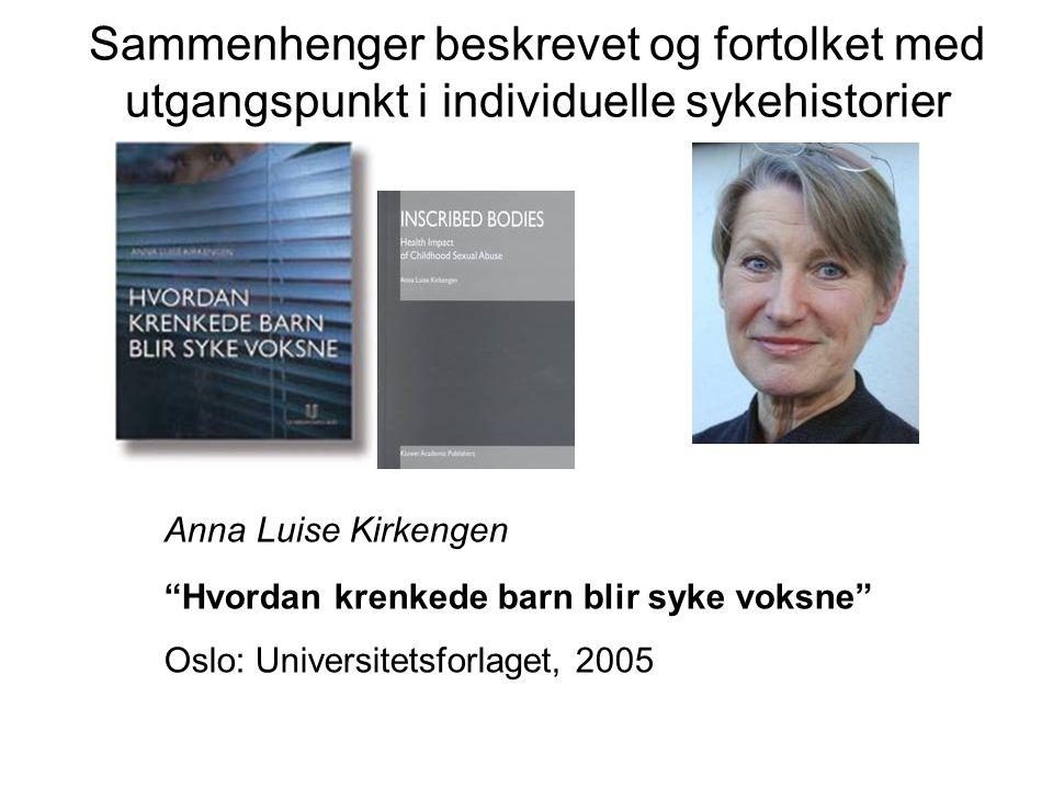 """Sammenhenger beskrevet og fortolket med utgangspunkt i individuelle sykehistorier Anna Luise Kirkengen """"Hvordan krenkede barn blir syke voksne"""" Oslo:"""