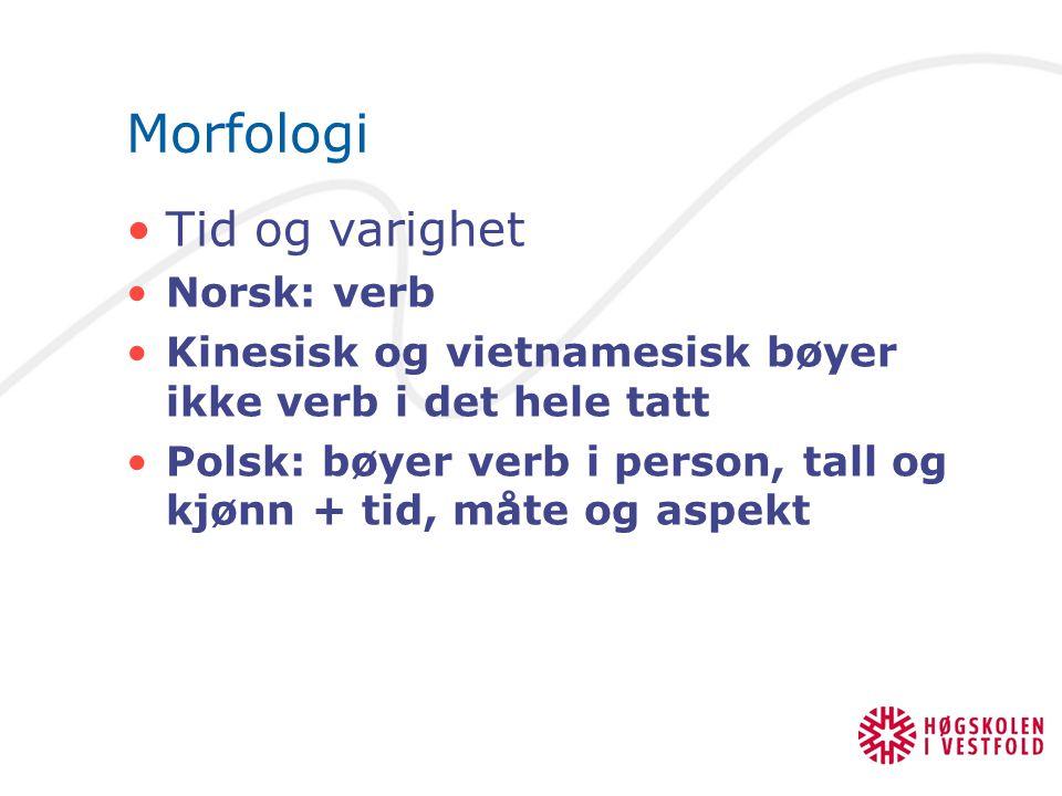 Morfologi Tid og varighet Norsk: verb Kinesisk og vietnamesisk bøyer ikke verb i det hele tatt Polsk: bøyer verb i person, tall og kjønn + tid, måte o