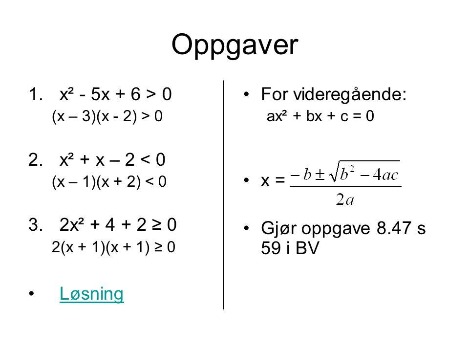 Oppgaver 1.x² - 5x + 6 > 0 (x – 3)(x - 2) > 0 2.x² + x – 2 < 0 (x – 1)(x + 2) < 0 3.2x² + 4 + 2 ≥ 0 2(x + 1)(x + 1) ≥ 0 Løsning For videregående: ax² + bx + c = 0 x = Gjør oppgave 8.47 s 59 i BV