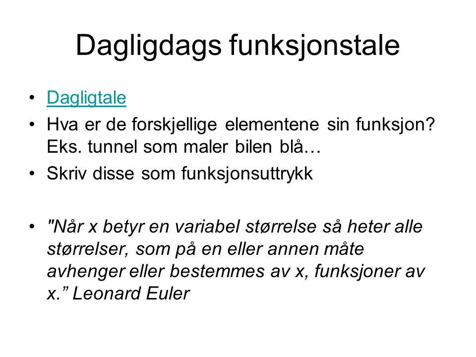 Dagligdags funksjonstale Dagligtale Hva er de forskjellige elementene sin funksjon.