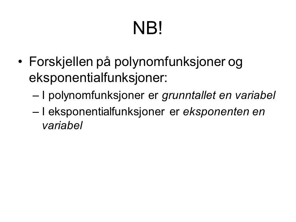 NB! Forskjellen på polynomfunksjoner og eksponentialfunksjoner: –I polynomfunksjoner er grunntallet en variabel –I eksponentialfunksjoner er eksponent