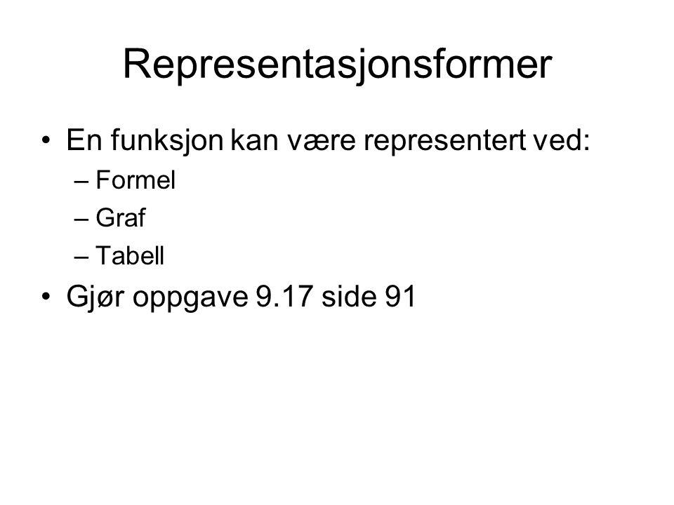 Representasjonsformer En funksjon kan være representert ved: –Formel –Graf –Tabell Gjør oppgave 9.17 side 91