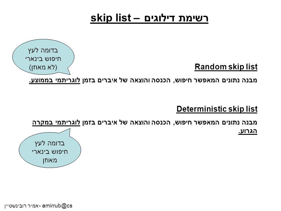 אמיר רובינשטיין - amirrub@cs רשימת דילוגים – skip list Random skip list מבנה נתונים המאפשר חיפוש, הכנסה והוצאה של איברים בזמן לוגריתמי בממוצע. Determi