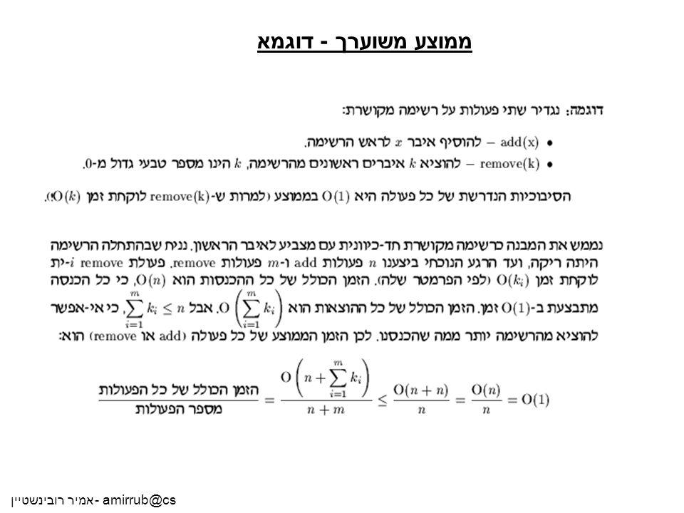 אמיר רובינשטיין - amirrub@cs ממוצע משוערך - דוגמא