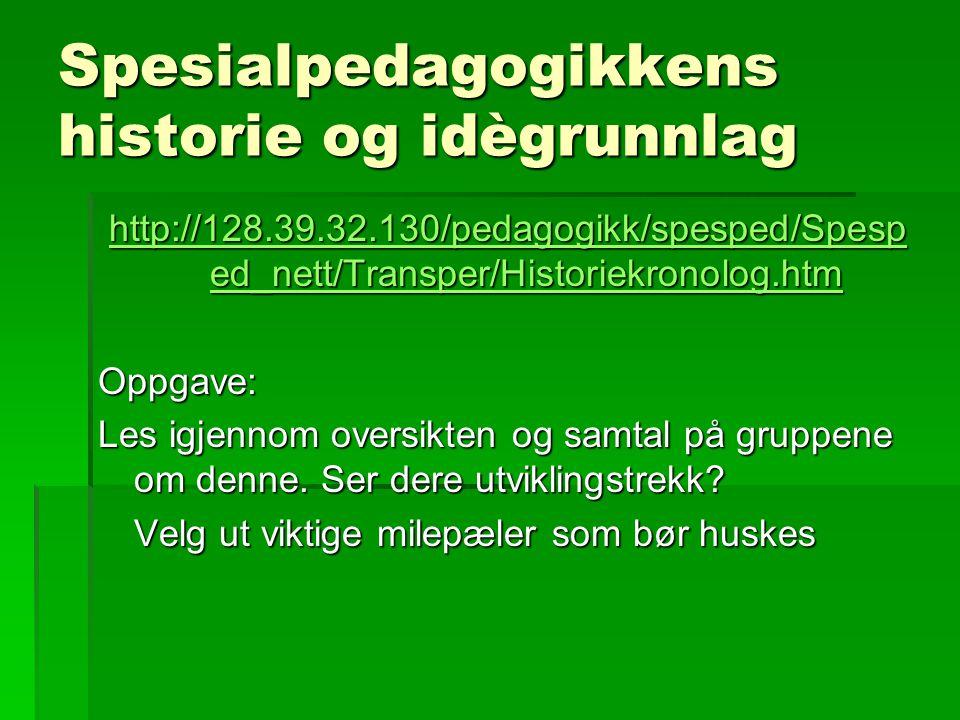 Spesialpedagogikkens historie og idègrunnlag http://128.39.32.130/pedagogikk/spesped/Spesp ed_nett/Transper/Historiekronolog.htm http://128.39.32.130/
