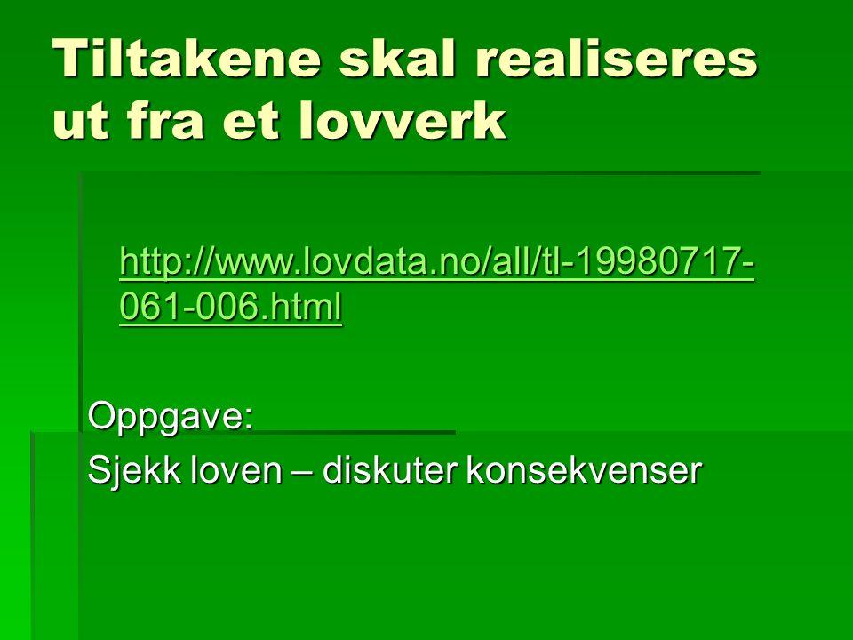 Tiltakene skal realiseres ut fra et lovverk http://www.lovdata.no/all/tl-19980717- 061-006.html http://www.lovdata.no/all/tl-19980717- 061-006.htmlOpp