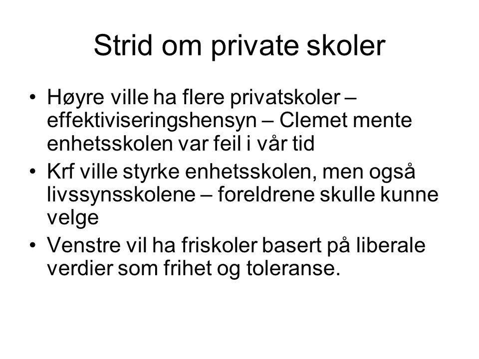 Strid om private skoler Høyre ville ha flere privatskoler – effektiviseringshensyn – Clemet mente enhetsskolen var feil i vår tid Krf ville styrke enh
