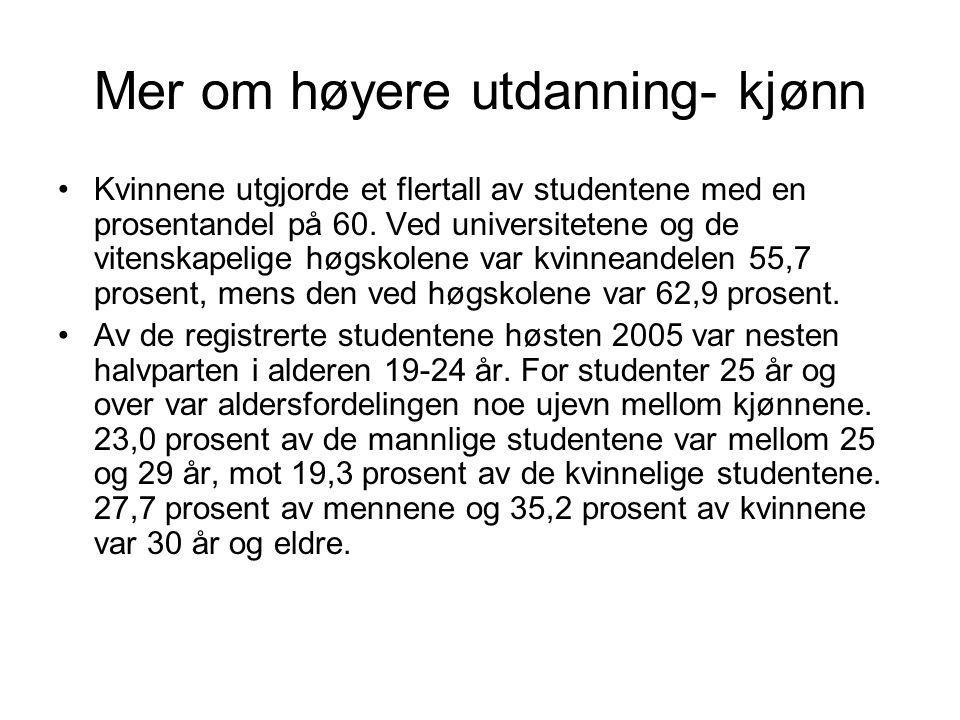 Mer om høyere utdanning- kjønn Kvinnene utgjorde et flertall av studentene med en prosentandel på 60.