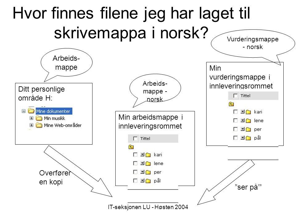 IT-seksjonen LU - Høsten 2004 Hvor finnes filene jeg har laget til skrivemappa i norsk.