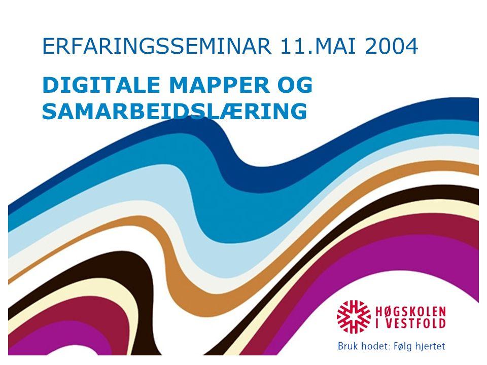 ERFARINGSSEMINAR 11.MAI 2004 DIGITALE MAPPER OG SAMARBEIDSLÆRING
