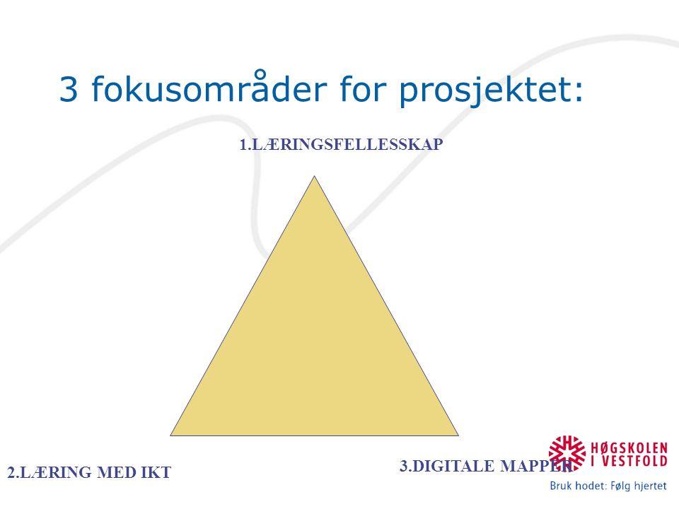 3 fokusområder for prosjektet: 1.LÆRINGSFELLESSKAP 2.LÆRING MED IKT 3.DIGITALE MAPPER