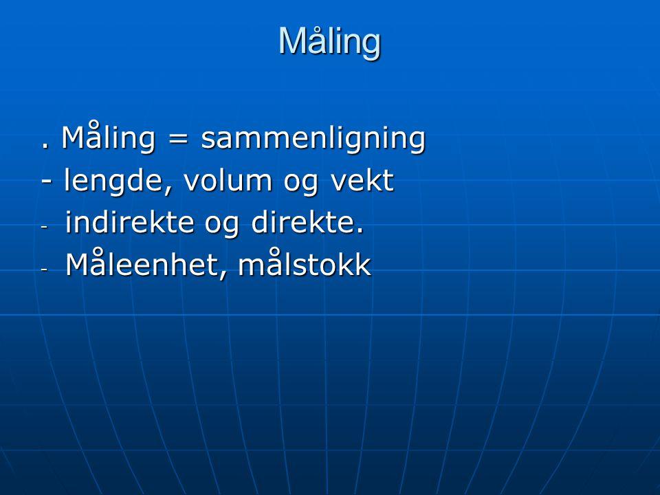 Måling. Måling = sammenligning - lengde, volum og vekt - indirekte og direkte. - Måleenhet, målstokk