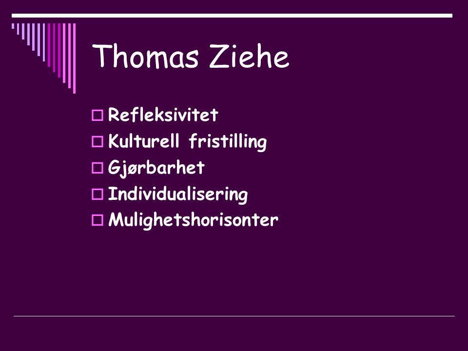 Thomas Ziehe  Refleksivitet  Kulturell fristilling  Gjørbarhet  Individualisering  Mulighetshorisonter
