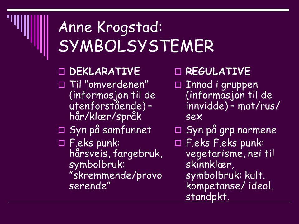 Anne Krogstad: SYMBOLSYSTEMER  DEKLARATIVE  Til omverdenen (informasjon til de utenforstående) – hår/klær/språk  Syn på samfunnet  F.eks punk: hårsveis, fargebruk, symbolbruk: skremmende/provo serende  REGULATIVE  Innad i gruppen (informasjon til de innvidde) – mat/rus/ sex  Syn på grp.normene  F.eks F.eks punk: vegetarisme, nei til skinnklær, symbolbruk: kult.