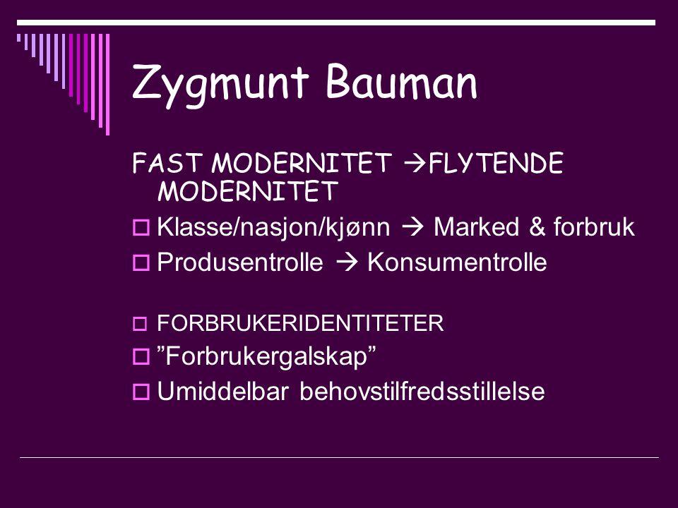 Zygmunt Bauman FAST MODERNITET  FLYTENDE MODERNITET  Klasse/nasjon/kjønn  Marked & forbruk  Produsentrolle  Konsumentrolle  FORBRUKERIDENTITETER  Forbrukergalskap  Umiddelbar behovstilfredsstillelse