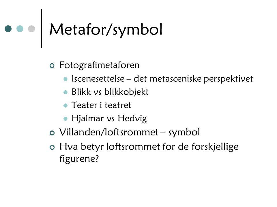 Metafor/symbol Fotografimetaforen Iscenesettelse – det metasceniske perspektivet Blikk vs blikkobjekt Teater i teatret Hjalmar vs Hedvig Villanden/loftsrommet – symbol Hva betyr loftsrommet for de forskjellige figurene?