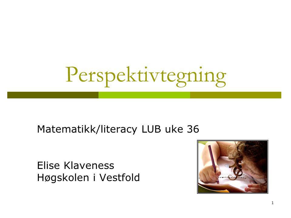 1 Perspektivtegning Matematikk/literacy LUB uke 36 Elise Klaveness Høgskolen i Vestfold