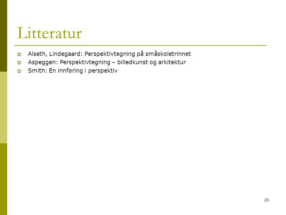 25 Litteratur  Alseth, Lindegaard: Perspektivtegning på småskoletrinnet  Aspeggen: Perspektivtegning – billedkunst og arkitektur  Smith: En innføring i perspektiv