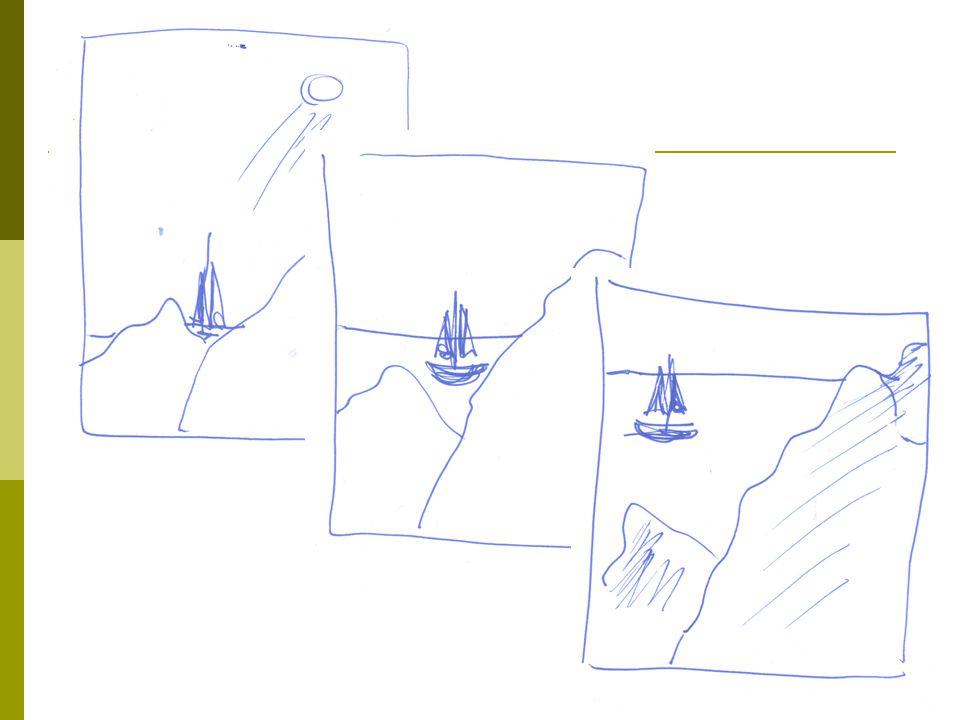 7 Froskeperspektiv og fugleperspektiv  Froskeperspektiv: Alle objektene tegnes over horisontlinjen  Fugleperspektiv: Alle objektene tegnes under horisontlinjen