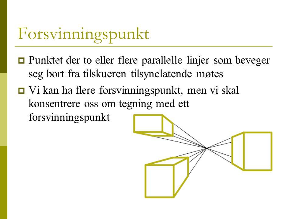8 Forsvinningspunkt  Punktet der to eller flere parallelle linjer som beveger seg bort fra tilskueren tilsynelatende møtes  Vi kan ha flere forsvinningspunkt, men vi skal konsentrere oss om tegning med ett forsvinningspunkt