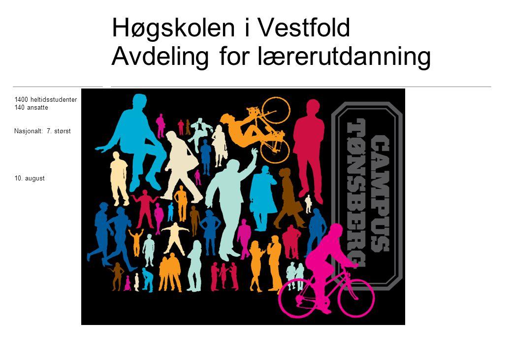 Høgskolen i Vestfold Avdeling for lærerutdanning 1400 heltidsstudenter 140 ansatte Nasjonalt: 7.