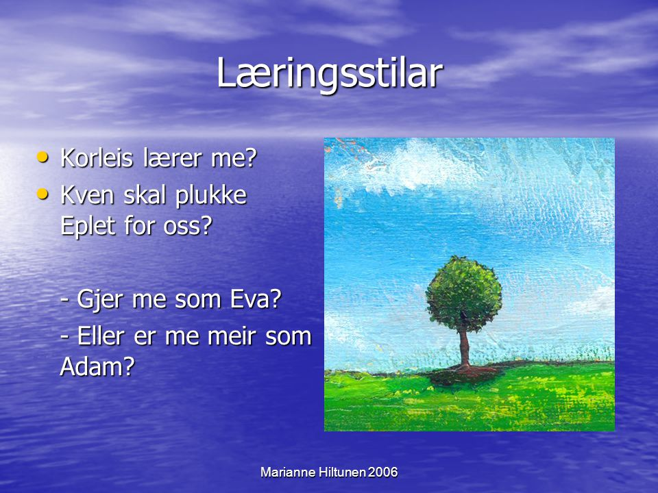 Marianne Hiltunen 2006 Læringsstilar Korleis lærer me.