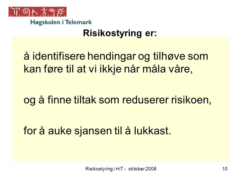 Risikostyring i HiT - oktober 200810 å identifisere hendingar og tilhøve som kan føre til at vi ikkje når måla våre, og å finne tiltak som reduserer r