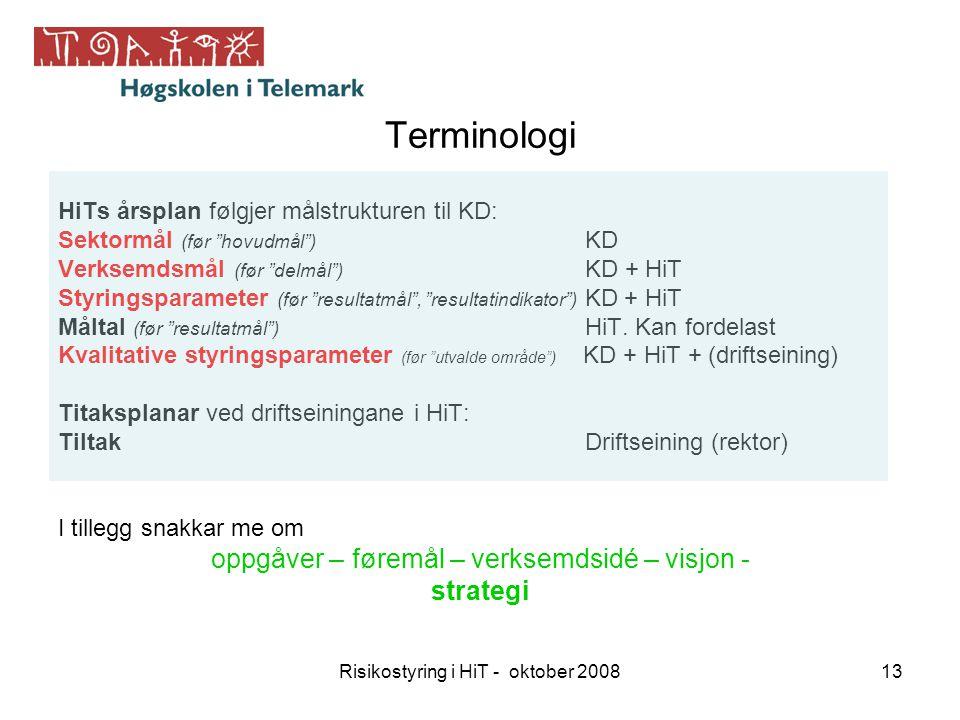 """Risikostyring i HiT - oktober 200813 Terminologi HiTs årsplan følgjer målstrukturen til KD: Sektormål (før """"hovudmål"""") KD Verksemdsmål (før """"delmål"""")"""