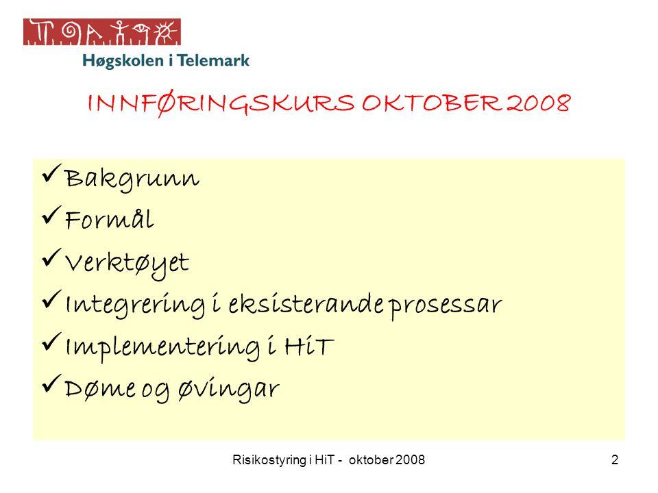 Risikostyring i HiT - oktober 20082 Bakgrunn Formål Verktøyet Integrering i eksisterande prosessar Implementering i HiT Døme og øvingar INNFØRINGSKURS