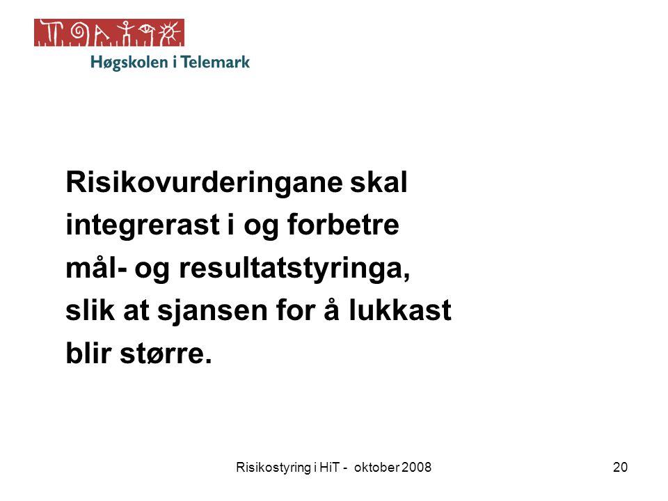 Risikostyring i HiT - oktober 200820 Risikovurderingane skal integrerast i og forbetre mål- og resultatstyringa, slik at sjansen for å lukkast blir st