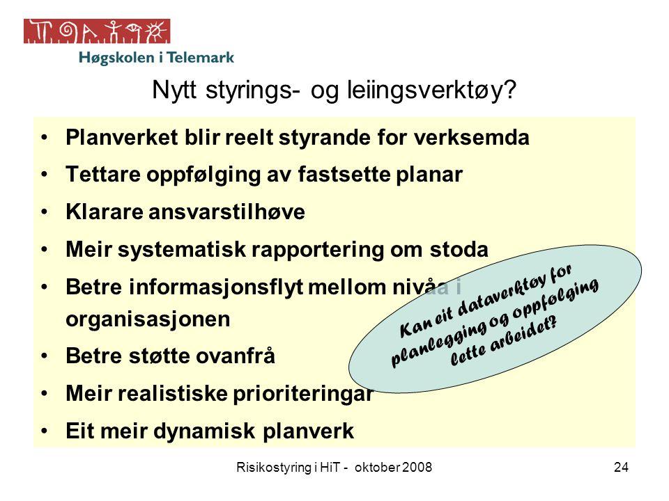 Risikostyring i HiT - oktober 200824 Nytt styrings- og leiingsverktøy? Planverket blir reelt styrande for verksemda Tettare oppfølging av fastsette pl
