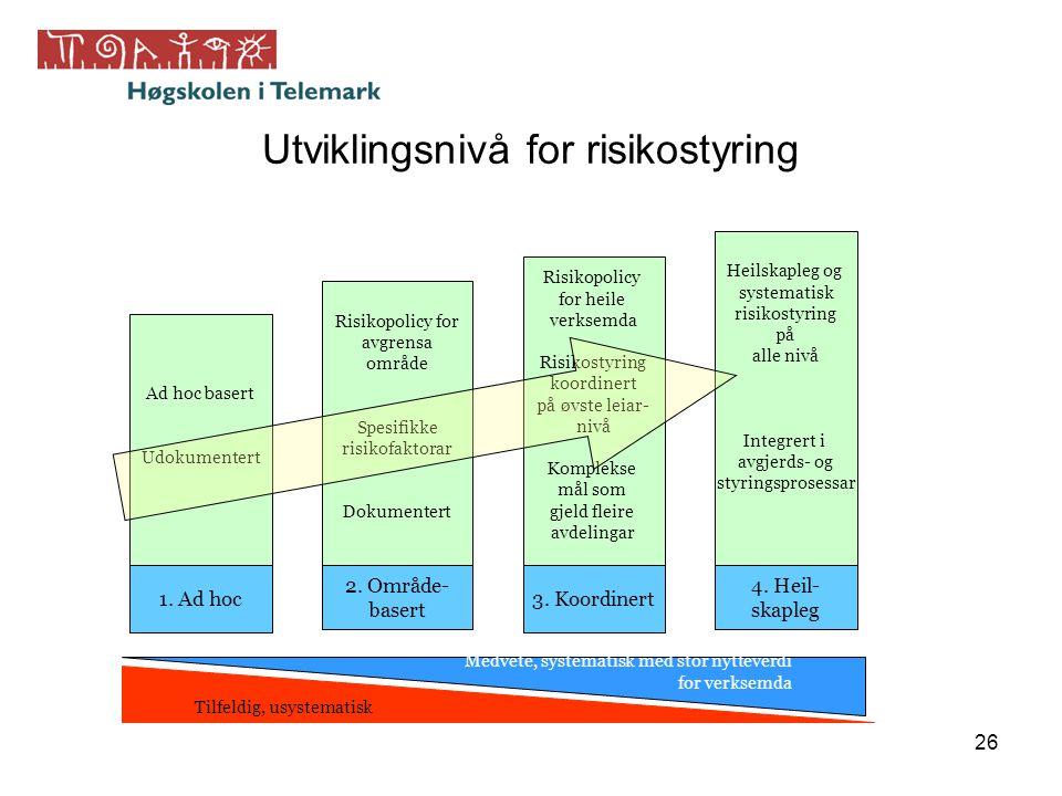 26 Utviklingsnivå for risikostyring Ad hoc basert Udokumentert 1. Ad hoc Risikopolicy for avgrensa område Spesifikke risikofaktorar Dokumentert 2. Omr