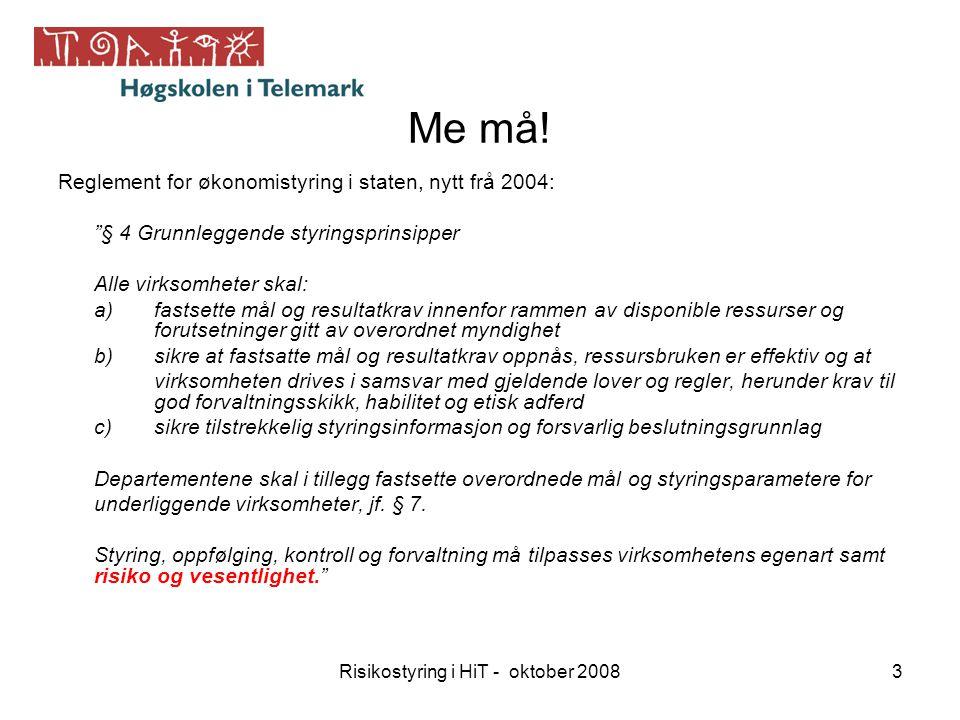 """Risikostyring i HiT - oktober 20083 Me må! Reglement for økonomistyring i staten, nytt frå 2004: """"§ 4 Grunnleggende styringsprinsipper Alle virksomhet"""
