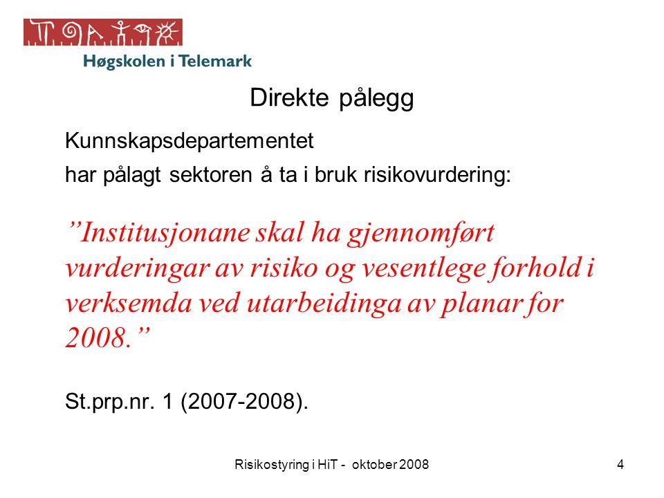 Risikostyring i HiT - oktober 200815 RisikostyringKvalitetssikring og arbeid for betre måloppnåing ved hjelp av systematisk risikoanalyse og oppfølging.