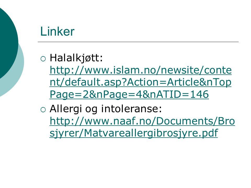 Linker  Halalkjøtt: http://www.islam.no/newsite/conte nt/default.asp?Action=Article&nTop Page=2&nPage=4&nATID=146 http://www.islam.no/newsite/conte n