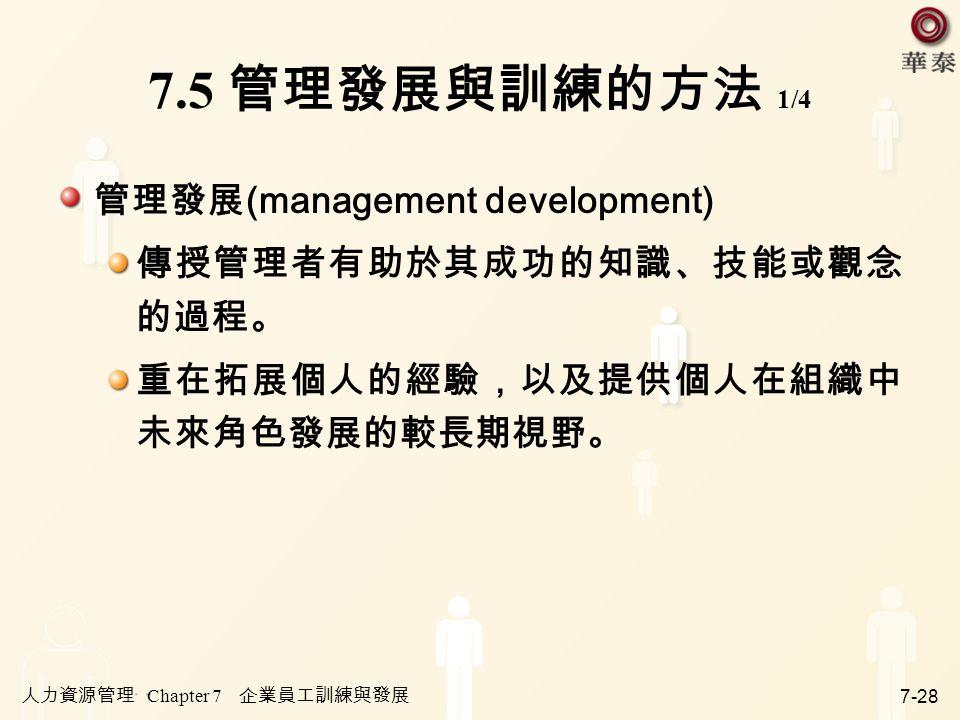 人力資源管理 Chapter 7 企業員工訓練與發展 7-28 7.5 管理發展與訓練的方法 1/4 管理發展 (management development) 傳授管理者有助於其成功的知識、技能或觀念 的過程。 重在拓展個人的經驗,以及提供個人在組織中 未來角色發展的較長期視野。