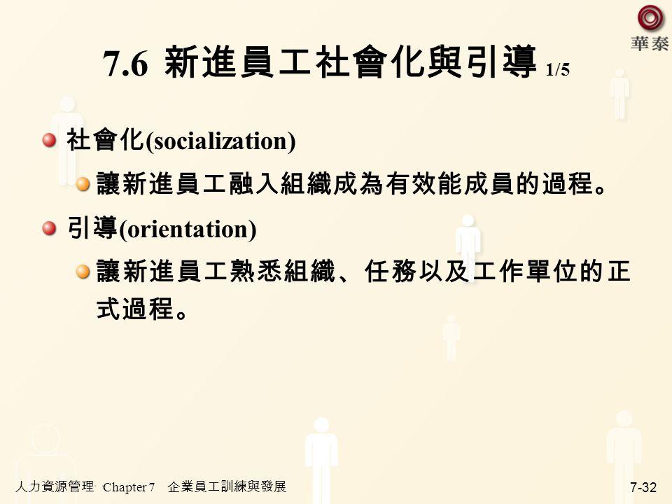 人力資源管理 Chapter 7 企業員工訓練與發展 7-32 7.6 新進員工社會化與引導 1/5 社會化 (socialization) 讓新進員工融入組織成為有效能成員的過程。 引導 (orientation) 讓新進員工熟悉組織、任務以及工作單位的正 式過程。
