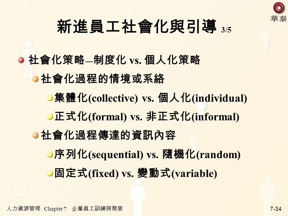 人力資源管理 Chapter 7 企業員工訓練與發展 7-34 新進員工社會化與引導 3/5 社會化策略 ― 制度化 vs. 個人化策略 社會化過程的情境或系絡 集體化 (collective) vs. 個人化 (individual) 正式化 (formal) vs. 非正式化 (informal