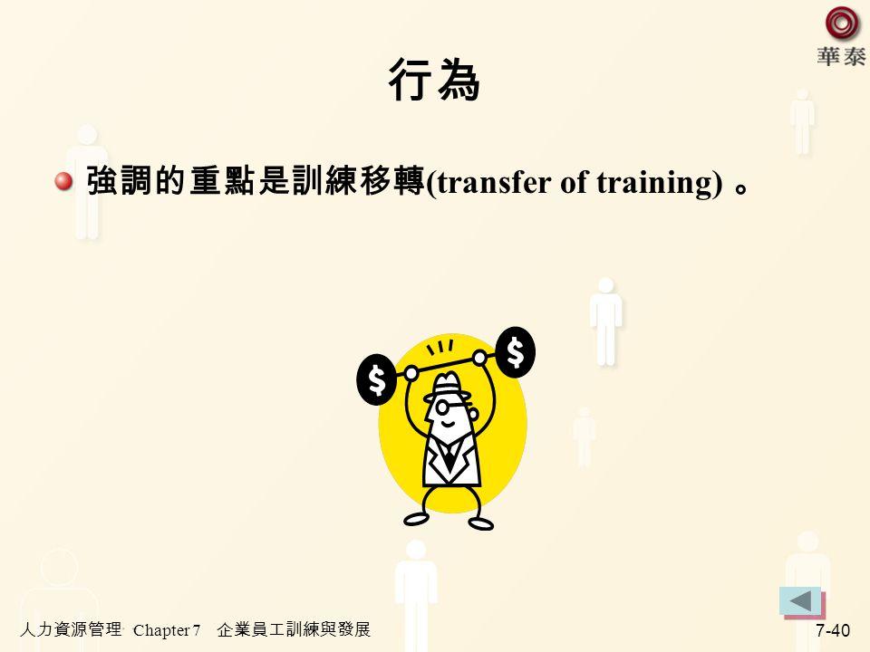 人力資源管理 Chapter 7 企業員工訓練與發展 7-40 行為 強調的重點是訓練移轉 (transfer of training) 。
