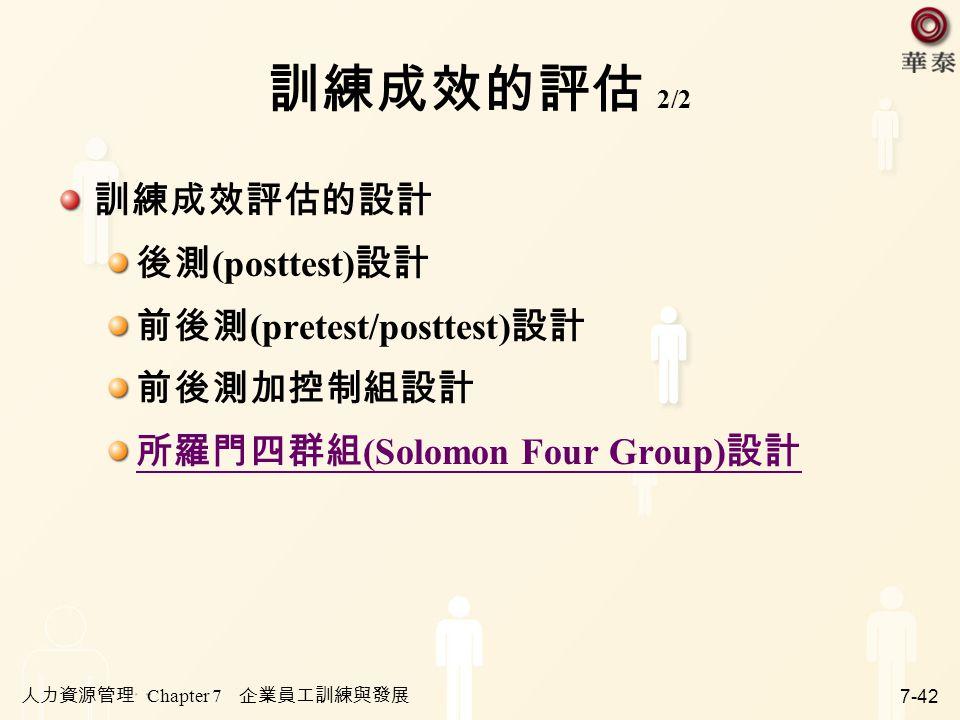 人力資源管理 Chapter 7 企業員工訓練與發展 7-42 訓練成效的評估 2/2 訓練成效評估的設計 後測 (posttest) 設計 前後測 (pretest/posttest) 設計 前後測加控制組設計 所羅門四群組 (Solomon Four Group) 設計