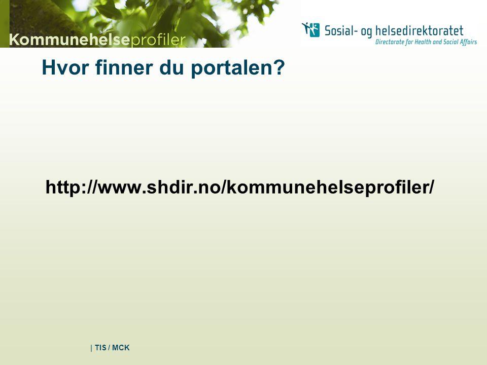 Hvor finner du portalen? http://www.shdir.no/kommunehelseprofiler/