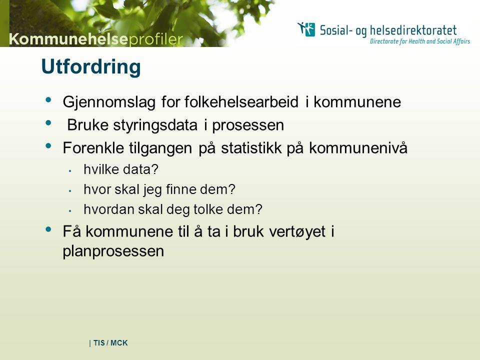 | TIS / MCK Utfordring Gjennomslag for folkehelsearbeid i kommunene Bruke styringsdata i prosessen Forenkle tilgangen på statistikk på kommunenivå hvilke data.