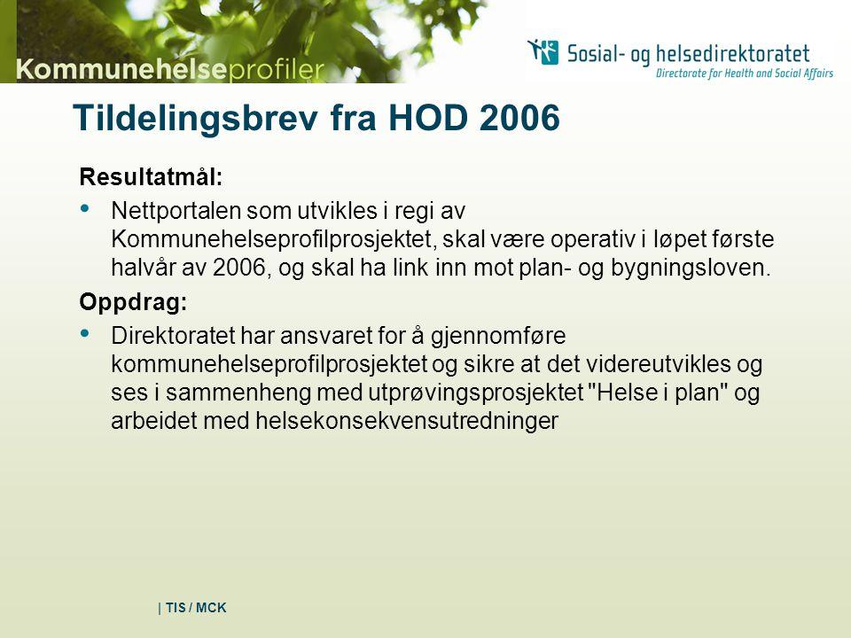 | TIS / MCK Tildelingsbrev fra HOD 2006 Resultatmål: Nettportalen som utvikles i regi av Kommunehelseprofilprosjektet, skal være operativ i løpet første halvår av 2006, og skal ha link inn mot plan- og bygningsloven.