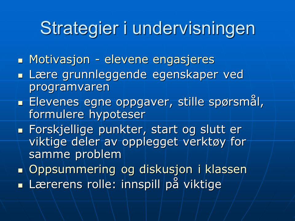 Strategier i undervisningen Motivasjon - elevene engasjeres Motivasjon - elevene engasjeres Lære grunnleggende egenskaper ved programvaren Lære grunnl