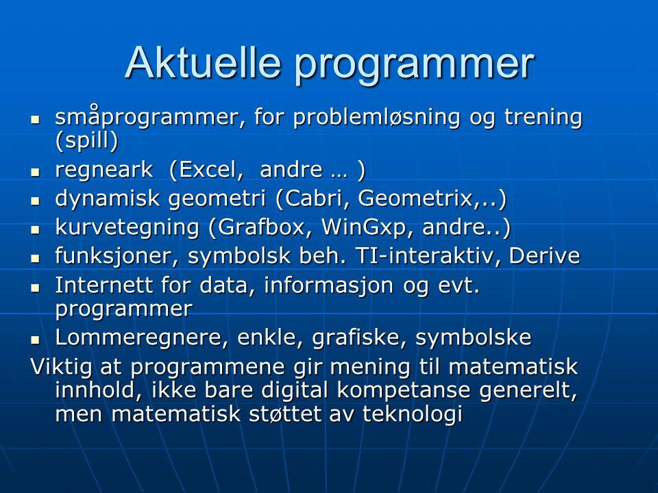 Aktuelle programmer småprogrammer, for problemløsning og trening (spill) småprogrammer, for problemløsning og trening (spill) regneark (Excel, andre …