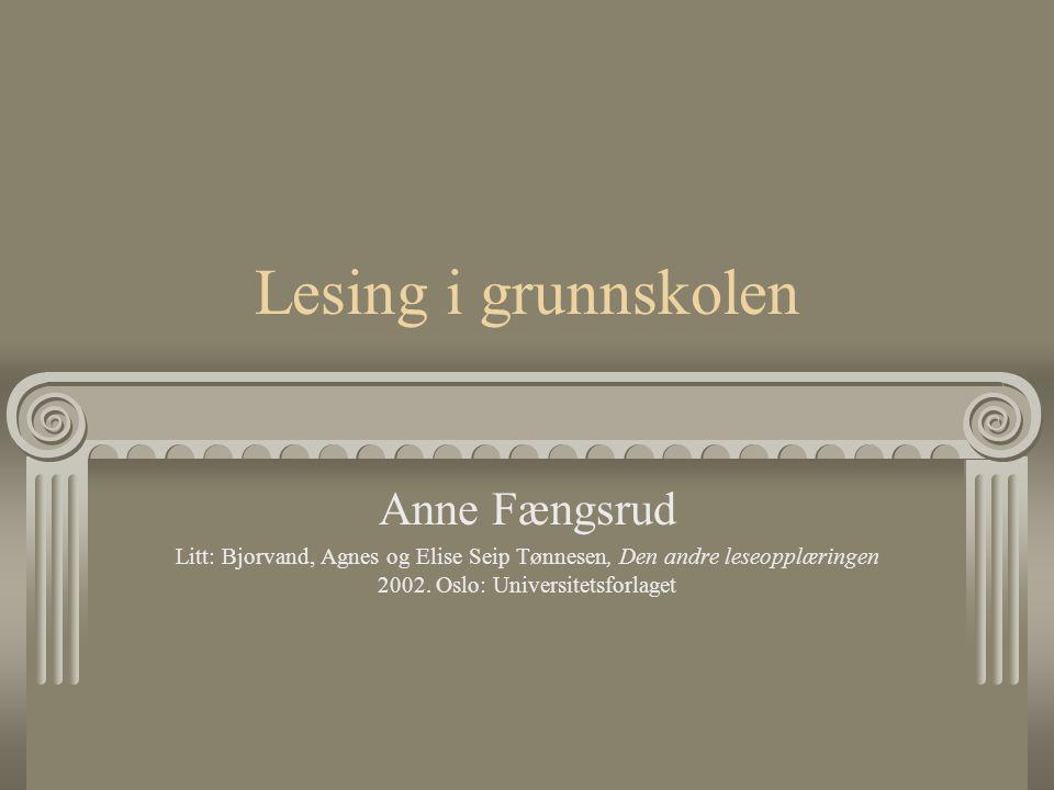 Lesing i grunnskolen Anne Fængsrud Litt: Bjorvand, Agnes og Elise Seip Tønnesen, Den andre leseopplæringen 2002. Oslo: Universitetsforlaget