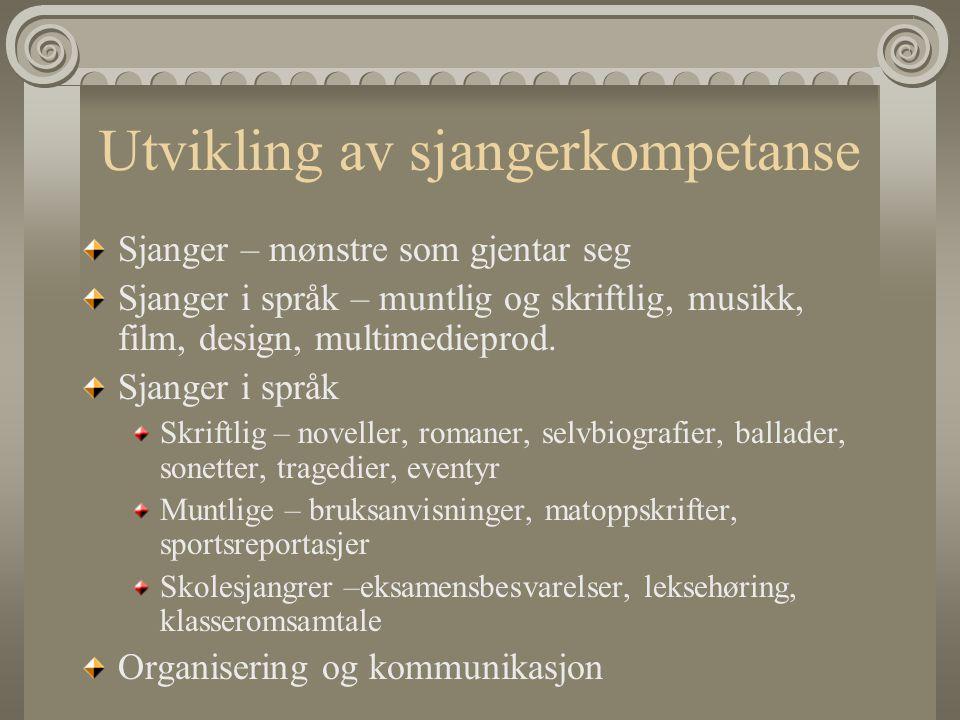Utvikling av sjangerkompetanse Sjanger – mønstre som gjentar seg Sjanger i språk – muntlig og skriftlig, musikk, film, design, multimedieprod. Sjanger