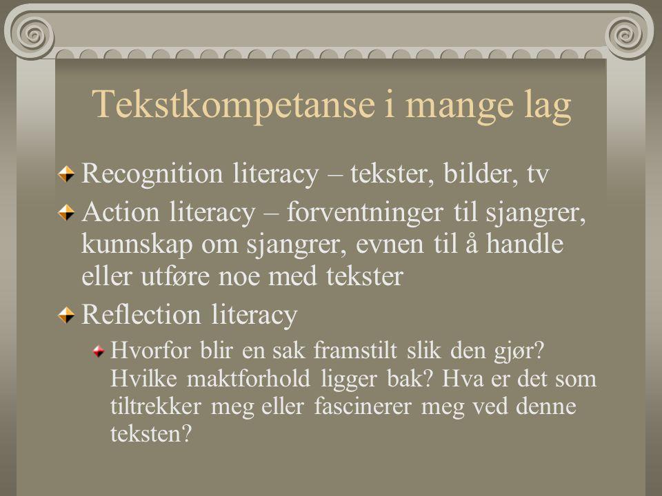 Tekstkompetanse i mange lag Recognition literacy – tekster, bilder, tv Action literacy – forventninger til sjangrer, kunnskap om sjangrer, evnen til å