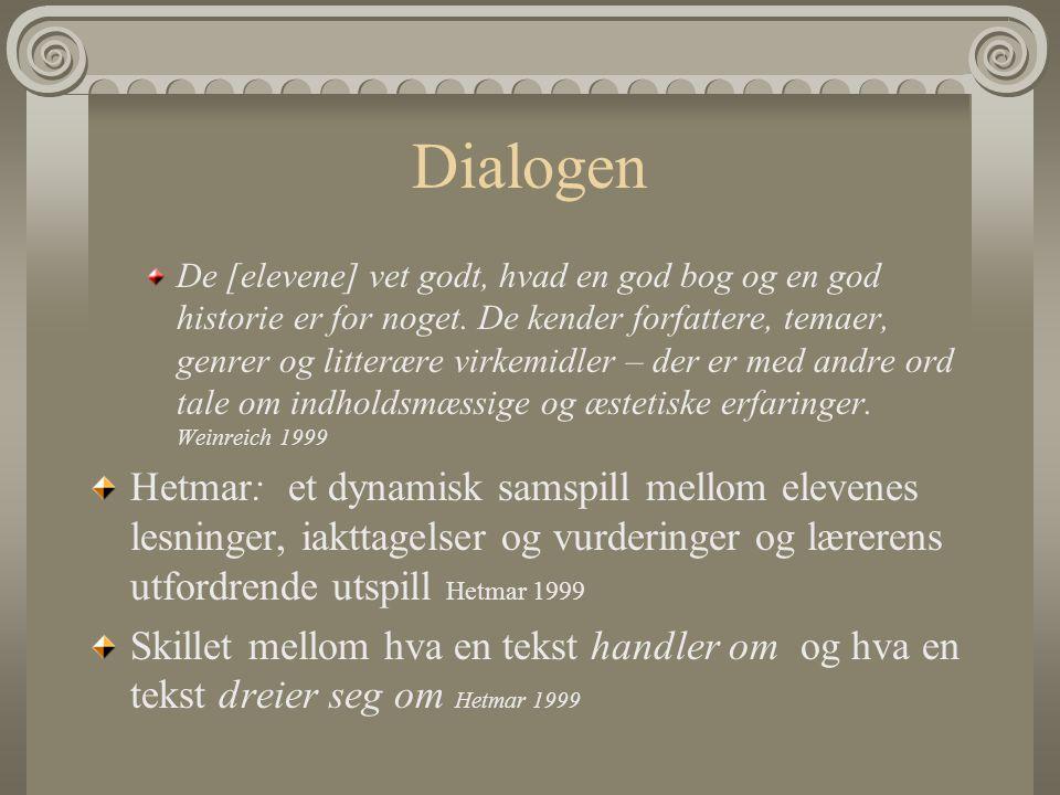 Dialogen De [elevene] vet godt, hvad en god bog og en god historie er for noget. De kender forfattere, temaer, genrer og litterære virkemidler – der e